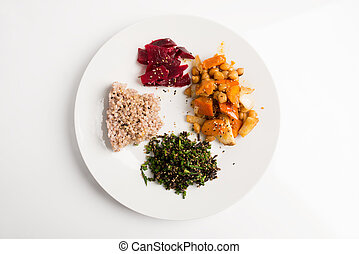 Macrobiotic plate - Top view of nutritious macrobiotic plate...