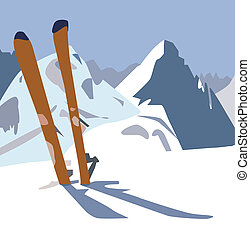 skis. - An illustration of a pair of skis in the snow in the...