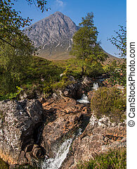Buachaille Etive Mor and waterfalls - Waterfalls near...