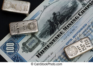 Stock Certificate and Silver Bars - Original Homestake...