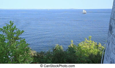 Sail Boat in Maine USA - Sail Boat in Maine shot in early...