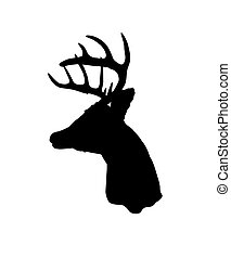 Whitetail Deer Silhouette - Black silhouette of a whitetail...