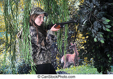 Pretty Teen Missing the Target - A pretty young hunter...