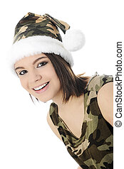 Camo-Girl Close-up - Close-up image of a beautiful teen girl...