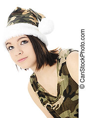 Looking Up in Camoflauge - Close-up of a beautiful teen girl...