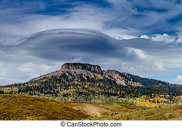 Fall in Steamboat Springs Colorado - Large Lenticular cloud...