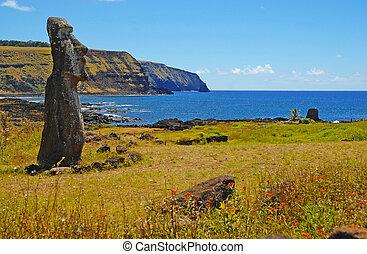 Moai in Rapa Nui, Easter Island - Moai Stone Statues at Rapa...