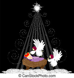 Baby Jesus with angel - Christmas background with baby Jesus...