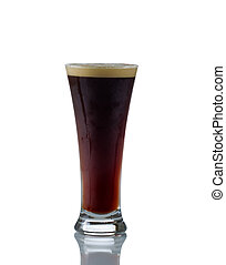 Tall Glass filled with cold dark beer - Vertical image of a...