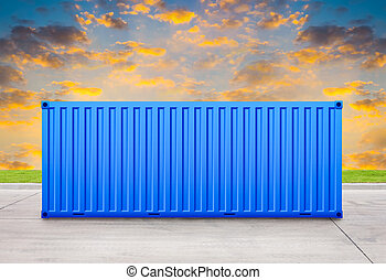 Container with sky background