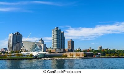 Milwaukee Wisconsin Sunny Day - Walking, running people on a...