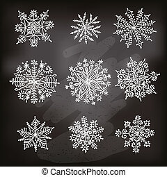 Hand drawn snowflakes. Design elements. Vector isolated set.