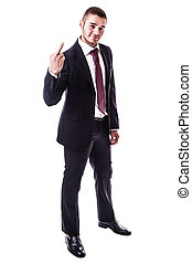 Rude businessman - a young businessman showing the middle...
