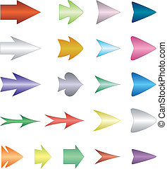 Set arrows - Kit isolated colored symmetric arrows ower...