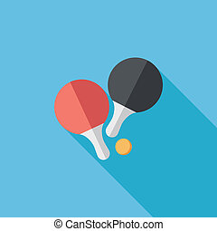 table tennis racket flat icon with long shadow,eps10