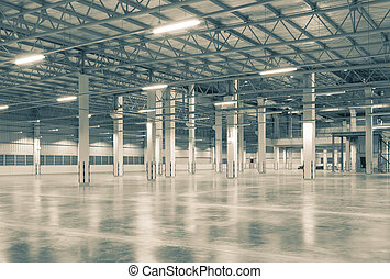 background - Factory background with concrete floor, night...