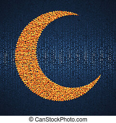Moon on blue paper background for holy month of muslim community Ramadan Kareem. Vector illustration