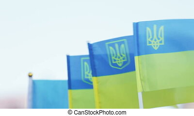 Flags of Ukraine souvenir - Row of souvenir flag of Ukraine...