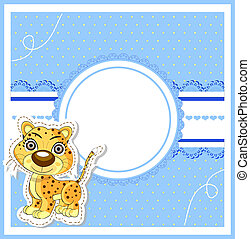 illustration of cute lion on decorative background