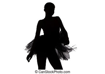 Silhouette of young dancer girl
