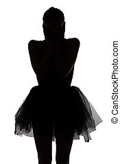 Silhouette of surprised dancer girl