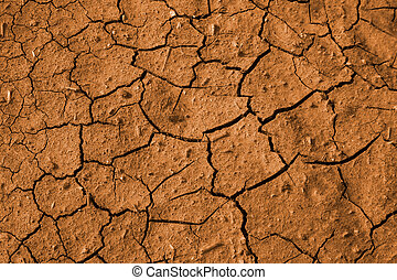 Red soil - Texture of cracked red soil in hot summer day