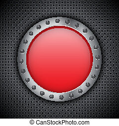 Red chrome button on metal circular grid EPS10 vector