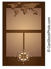 Scrapbook with compass rose and map world - Scrapbook with...