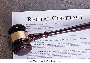 Rental contract legal concept - Judge gavel on the table and...