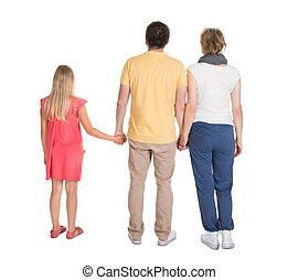 Rear View Of Family Standing Isolated On White