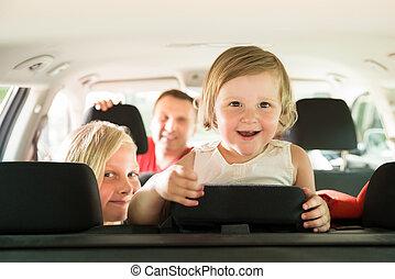 car, filha, família, dela, viajando