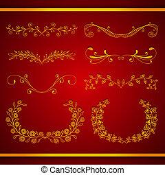 Set of elegant calligraphic foliate golden borders
