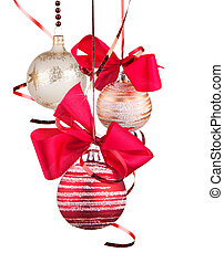 Christmas red balls hanging with ribbon bows isolated on...