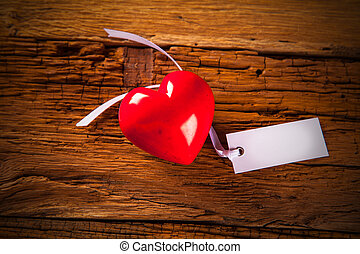 Valentines Day background with hearts on wooden table