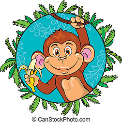 Funny monkey with a banana in her hand. As part of the leaf.