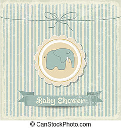 retro baby shower card with little elephant, vector format