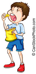 A simple sketch of a boy eating chips - Illustration of a...