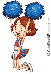 A simple coloured sketch of a cheerdancer - Illustration of...