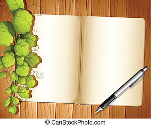 An empty template with plants and a ballpen - Illustration...