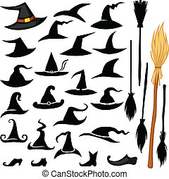 Halloween hat set - Vector set of Halloween accessories icon...