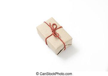 arte, papelão, PRESENTE, caixa