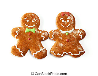 Christmas gingerbread couple cookies