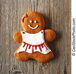 Christmas homemade gingerbread girl cookie - Christmas...