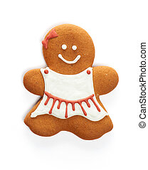 Christmas gingerbread girl cookie isolated on white