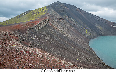 Vulcano crater with water in Iceland - Barrenness in...