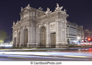 Madrid by night. Puerta de Alcala. Spain. Horizontal