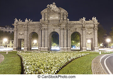 Madrid by night Puerta de Alcala Spain Horizontal