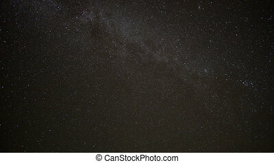 Night Time Lapse of stars with plane trails, northern...