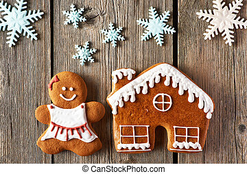 Christmas gingerbread girl and house cookies - Christmas...