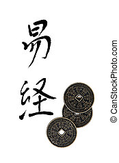 I Ching - I ching coins with chinese calligraphy script,...
